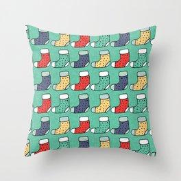 Christmas Stockings Green #Christmas #Holiday Throw Pillow