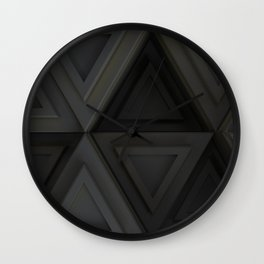 Pattern of grey triangle prisms with yellow glowing lines Wall Clock