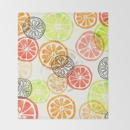 Lemon Slices Throw Blanket