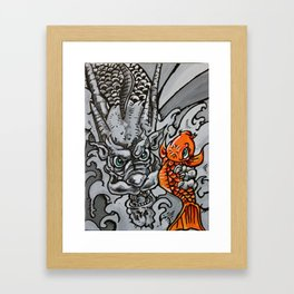 Dragon Catches Koi in the Waterfall of Life Framed Art Print