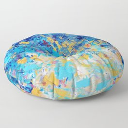 HYPNOTIC BLUE SUNSET - Simply Beautiful Royal Blue Navy Turquoise Aqua Sunrise Abstract Nature Decor Floor Pillow