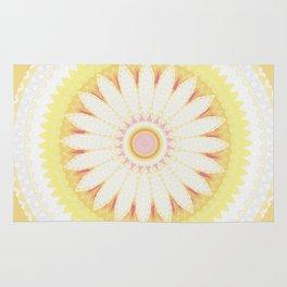Sunshine Yellow Flower Mandala Abstract Rug