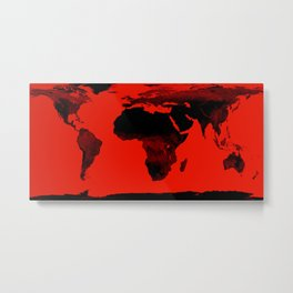 World Map Red & Black Metal Print