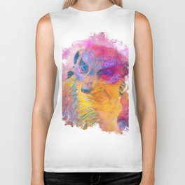 Painterly Animal -Meerkat Biker Tank