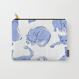 Cat Crazy blue white Carry-All Pouch