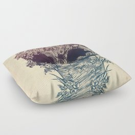 Skull Floral Floor Pillow