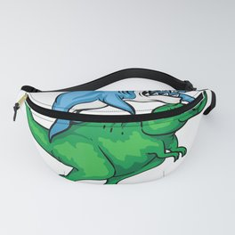 Cool Unique Shark Pirate Riding A T-Rex Shirt Week Day Gift Fanny Pack