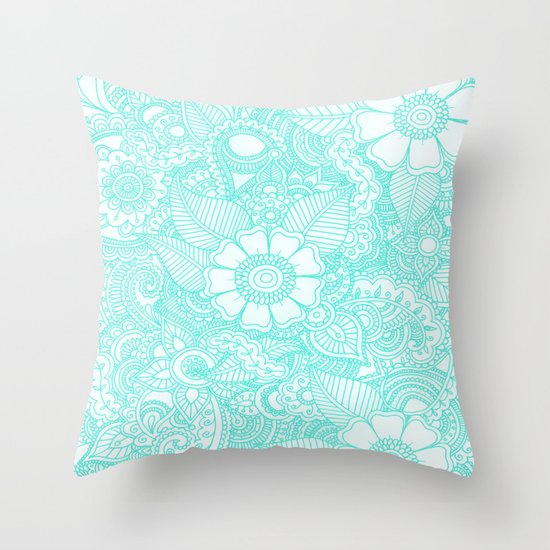 Henna Design - Aqua Throw Pillow