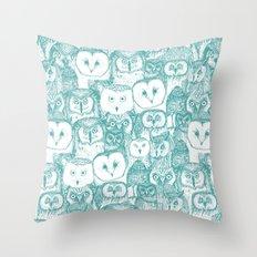 just owls teal blue Throw Pillow
