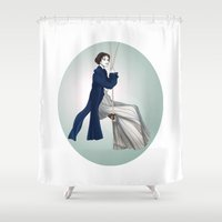 pride and prejudice Shower Curtains featuring Fashion Illustration - Pride & Prejudice by BeckiBoos
