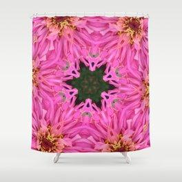 Pink Zinnia Kaleidoscope Mandala Shower Curtain