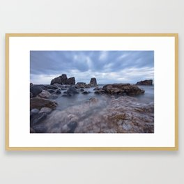 Long exposure blue hour seascape Rocky Beach amazing scenery Framed Art Print