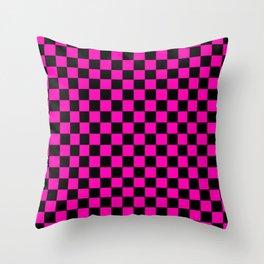 Large Hot Neon Pink and Black Racing Car Check Throw Pillow