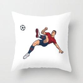 Soccer Player Somersault Overhead Kick Throw Pillow