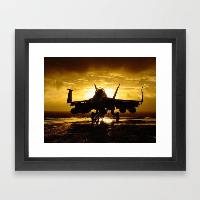 FA-18F at Sunset Framed Art Print
