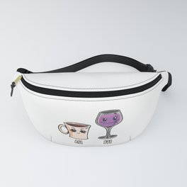 Funny coffee AM and wine PM gift wine coffee lover Fanny Pack