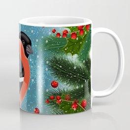 Bullfinch bird with fir tree decoration Coffee Mug