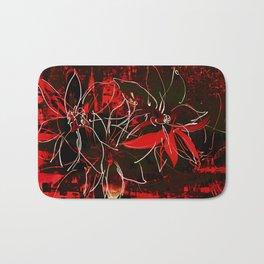 Schwarz rote Blüten Bath Mat