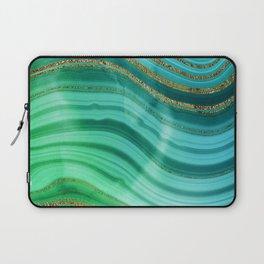Ocean Blue And Green Mermaid Glamour Marble Laptop Sleeve