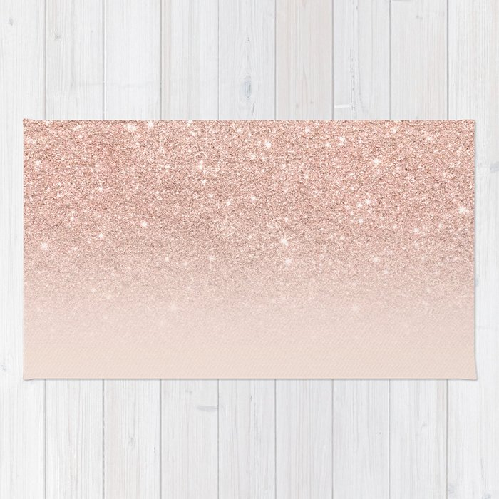 Rose gold faux glitter pink ombre color block Rug