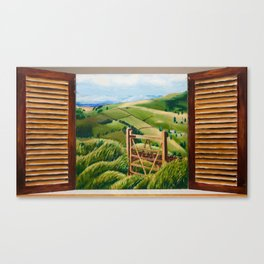 Through the Cottage Shutters and into the Countryside Canvas Print
