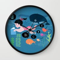 swimming Wall Clocks featuring Swimming by Sugar Snap Studio