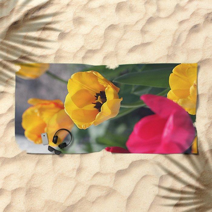 Сolorful tulips Beach Towel