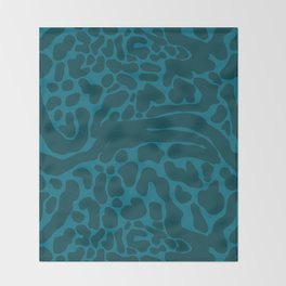 King Cheetah Print in Emerald Teal Throw Blanket