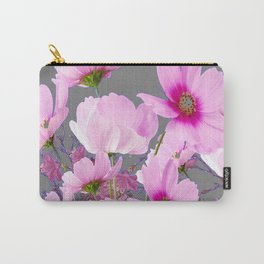 RADIANT PINK-FUCHSIA COSMO GREY ART Carry-All Pouch