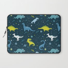 Space Dinosaurs in Bright Green and Blue Laptop Sleeve