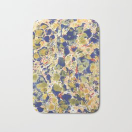Marbling, yelow, blue and red Bath Mat