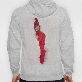 1508s-MM Woman in Venetian Mask Red Drape High Key Implied Nude Hoody