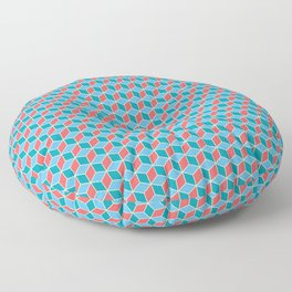 Red Blue Cube Pattern Floor Pillow