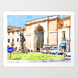 Teramo: square with monument and city gate Art Print