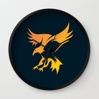 phoenix Wall Clocks featuring Phoenix by Dale J Cheetham