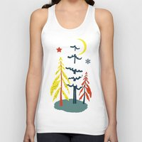 skiing Tank Tops featuring Retro Skiing  by beach please
