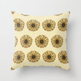 Retro Pop Sunflowers x Pastel Yellow Throw Pillow