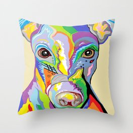 Greyhound Close Up Throw Pillow