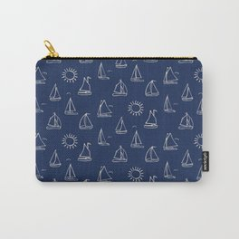Sunny Sailboats Sketch on Navy Carry-All Pouch
