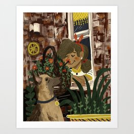 Shepherd and the Girl on the Corner Art Print