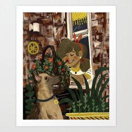 Shepherd and the Girl on the Corner Art Print