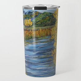 Autumn in the Mountains, Fall Decor, Aspen Birch Tree Painting Travel Mug