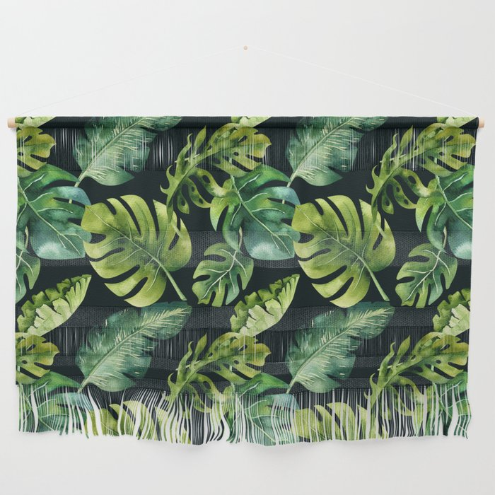 Watercolor Botanical Tropical Palm Leaves on Solid Black Background Wall Hanging
