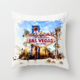 Las Vegas watercolor Throw Pillow