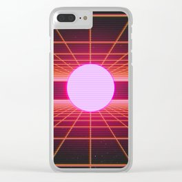 Retro 80s Grid 'Into the Void' Clear iPhone Case