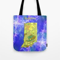 indiana Tote Bags featuring Indiana Map by Roger Wedegis