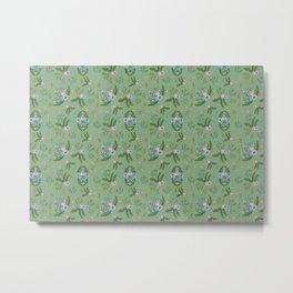 Vintage Florals - Green Metal Print