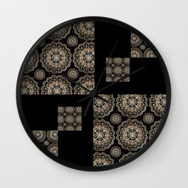 Black and Rose-Gold Floral Mandala Patch-Work Textile Wall Clock