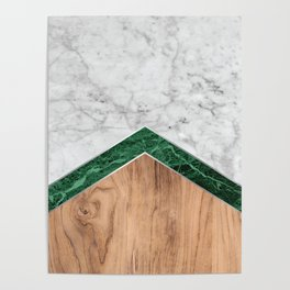 Arrows - White Marble, Green Granite & Wood #941 Poster