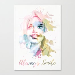 Always smile! Hand-painted portrait of a woman in watercolor. Canvas Print